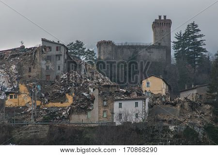 Panoramic view of Arquata del Tronto destroyed by the earthquake of August 24, 2016