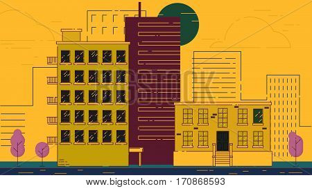 City Street stroke style illustration skyskrapers violet palette