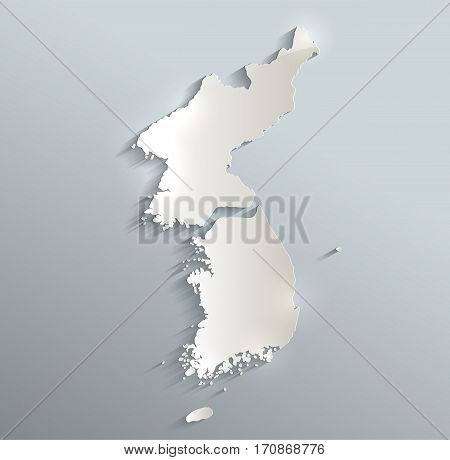 Korea map south north separate blue white card paper 3D raster