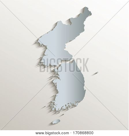 Korea map south north separate white blue card paper 3D raster