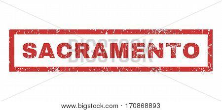 Sacramento text rubber seal stamp watermark. Tag inside rectangular shape with grunge design and scratched texture. Horizontal vector red ink sticker on a white background.