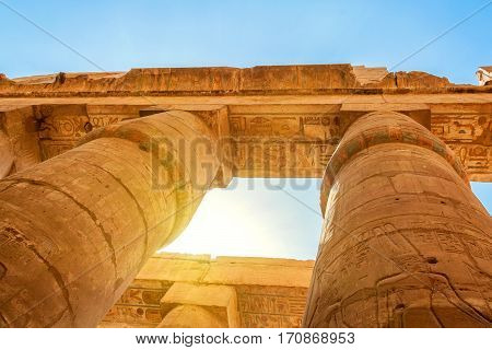 Hypostyle Hall in Karnak Temple located in ancient Thebes, Egypt