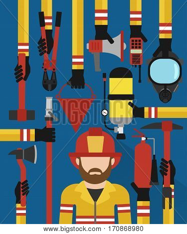 Fire fightingman modern design concept flat set