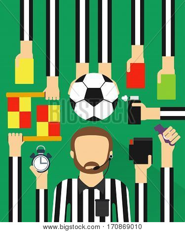Soccer referee modern design fla sett.Vector illustration