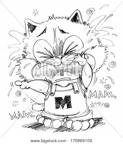 Cat crying look very poor and sue His finger pointing to some one made he crying Cartoon cute character design pencil sketch black art line and clipping paths isolate.