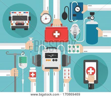 Healthcare Ambulance online concept design flat.Vector illustration