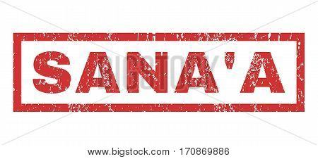 Sana a text rubber seal stamp watermark. Tag inside rectangular banner with grunge design and scratched texture. Horizontal vector red ink sign on a white background.