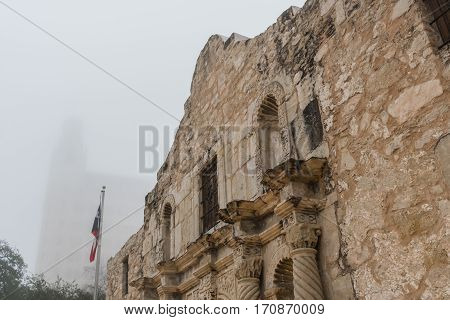 Close Up of the Alamo in The Morning Fog