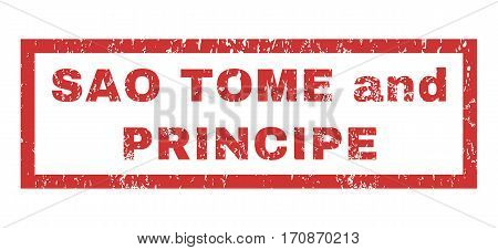 Sao Tome and Principe text rubber seal stamp watermark. Caption inside rectangular shape with grunge design and unclean texture. Horizontal vector red ink emblem on a white background.