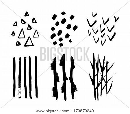 Set of hand drawn design elements. Vector collection of black ink textures and brush strokes. Collection for your design, triangles, brush strokes, heckmark, reed, bamboo, stripes. Freehand drawing.