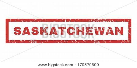 Saskatchewan text rubber seal stamp watermark. Caption inside rectangular shape with grunge design and dirty texture. Horizontal vector red ink sign on a white background.