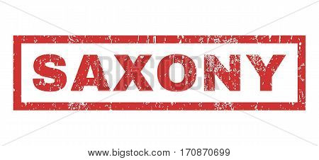 Saxony text rubber seal stamp watermark. Caption inside rectangular shape with grunge design and dirty texture. Horizontal vector red ink sticker on a white background.