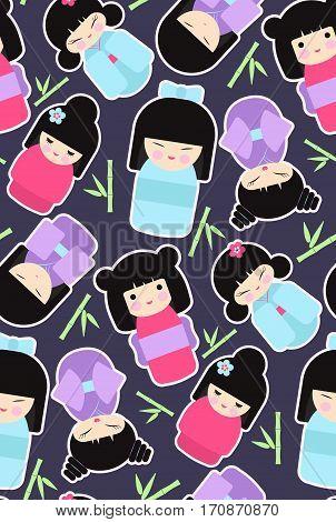 Kokeshi dolls. Seamless pattern with flat collection of kawaii Japanese girls. Vector illustration