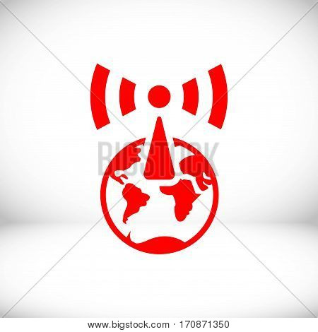wi-fi globe icon stock vector illustration flat design