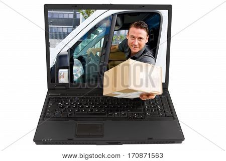 online shopping concept: delivery boy handing you a packet directly from the internet the laptop's screen