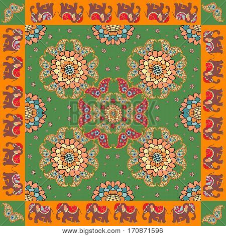 Ethnic bandana print with ornament border. Silk neck scarf with beautiful flowers paisley and elephants. Summer kerchief square pattern design style for print on fabric.