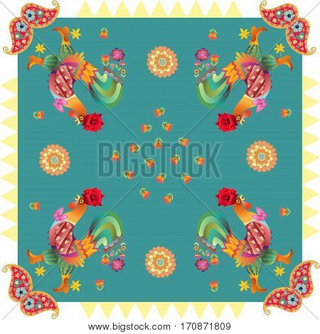 Year of the Rooster. Beautiful bandana print with fantasy roosters paisley and flowers on geometrical background. Silk neck scarf or kerchief square pattern design style for print.