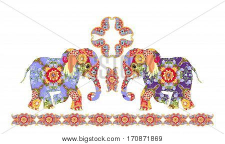 Indian decorative pattern with elephants and paisley.