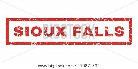Sioux Falls text rubber seal stamp watermark. Caption inside rectangular banner with grunge design and dirty texture. Horizontal vector red ink sign on a white background.