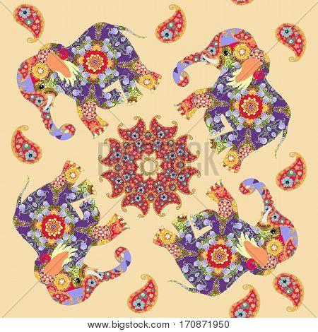 Beautiful indian seamless print with mandala paisley and elephants.