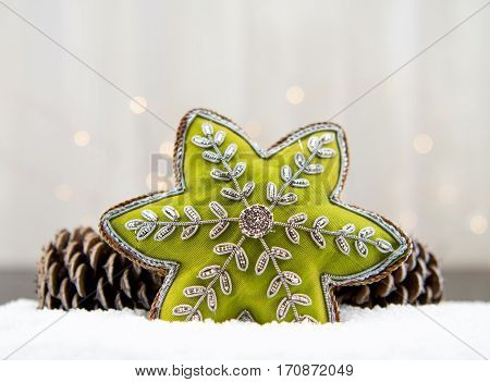 Copy Space Above Green Star Ornament and Pine Cones with snow
