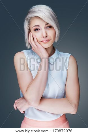 beautiful woman with displeased emotion, isolated