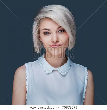 beautiful displeased woman, isolated