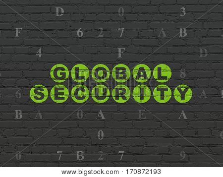 Privacy concept: Painted green text Global Security on Black Brick wall background with Hexadecimal Code
