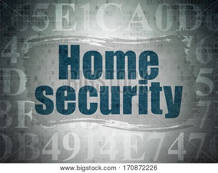 Security concept: Painted blue text Home Security on Digital Data Paper background with   Hexadecimal Code