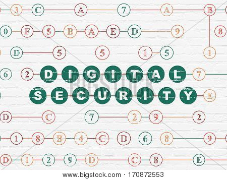 Security concept: Painted green text Digital Security on White Brick wall background with Hexadecimal Code