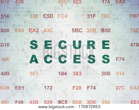 Privacy concept: Painted green text Secure Access on Digital Data Paper background with Hexadecimal Code
