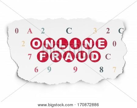 Safety concept: Painted red text Online Fraud on Torn Paper background with  Hexadecimal Code