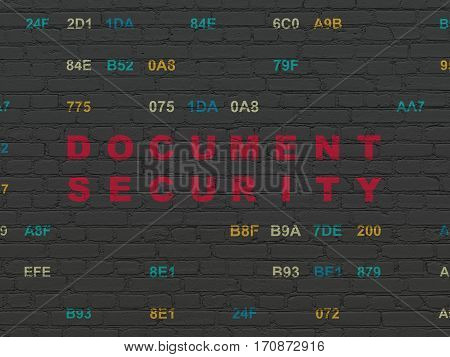 Safety concept: Painted red text Document Security on Black Brick wall background with Hexadecimal Code