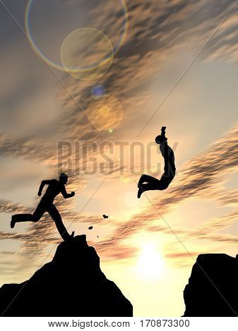 Concept or conceptual young 3D illustration man or businessman silhouette jump happy from cliff over  gap sunset or sunrise sky background