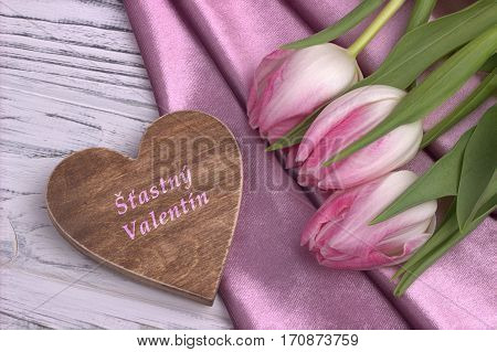 Valentine's Day Elegant Still Life With Tulip Flowers Rose Shine Fabric Rose And Heart Shape Sign On