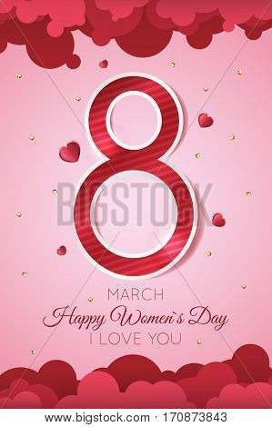 Happy Women s Day celebration greeting card design with sparkles and hearts
