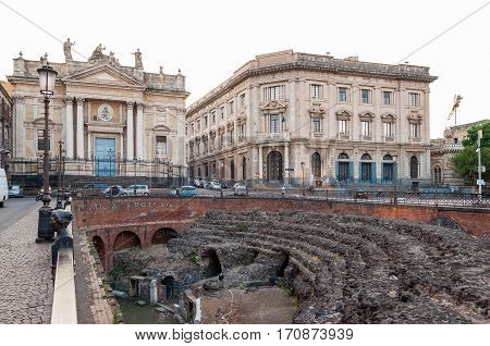 Remains Of The Roman Amphitheater At The Stesicoro Square In Catania, Italy