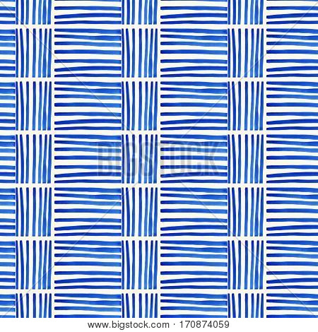 Handmade Watercolor Seamless Pattern with Vertical and Horizontal Strips