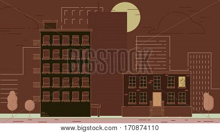 City Street stroke style illustration skyskrapers brown palette