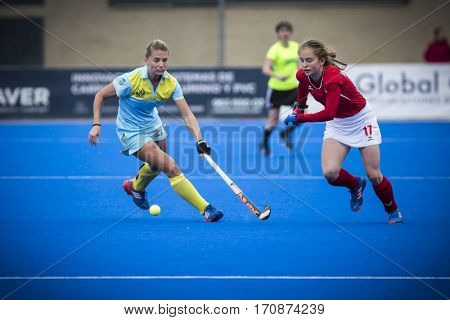 VALENCIA, SPAIN - FEBRUARY 11: (R) Monika Polewczak during Hockey World League Round 2 semifinal match between Ukraine and Poland at Betero Stadium on February 11, 2017 in Valencia, Spain