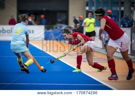 VALENCIA, SPAIN - FEBRUARY 11: Polish player with ball during Hockey World League Round 2 semifinal match between Ukraine and Poland at Betero Stadium on February 11, 2017 in Valencia, Spain