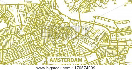Detailed vector map of Amsterdam in gold with title, scale 1:30 000, Netherlands