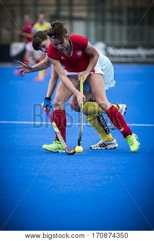 VALENCIA, SPAIN - FEBRUARY 11: Amelia Katerla during Hockey World League Round 2 semifinal match between Ukraine and Poland at Betero Stadium on February 11, 2017 in Valencia, Spain