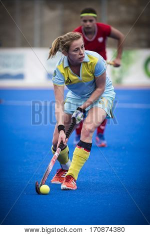 VALENCIA, SPAIN - FEBRUARY 11: Yana Vorushylo during Hockey World League Round 2 semifinal match between Ukraine and Poland at Betero Stadium on February 11, 2017 in Valencia, Spain