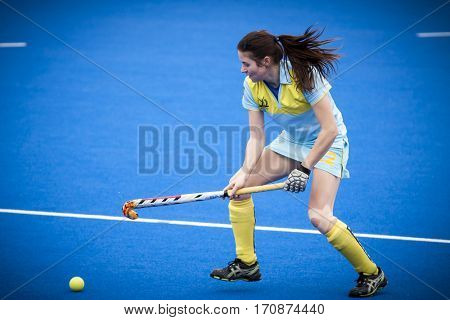 VALENCIA, SPAIN - FEBRUARY 11: Olha Hulenko during Hockey World League Round 2 semifinal match between Ukraine and Poland at Betero Stadium on February 11, 2017 in Valencia, Spain