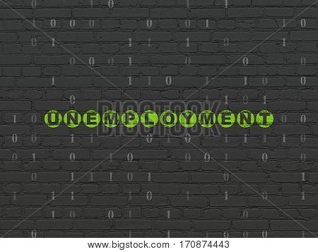 Business concept: Painted green text Unemployment on Black Brick wall background with Binary Code