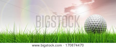 Green, fresh and natural 3D illustration conceptual sport grass over sky background banner with golf ball at horizon