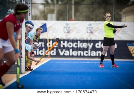 VALENCIA, SPAIN - FEBRUARY 11: Players during Hockey World League Round 2 semifinal match between Ukraine and Poland at Betero Stadium on February 11, 2017 in Valencia, Spain