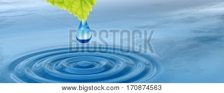Concept or conceptual clean spring water or dew drop falling from a green fresh leaf on 3D illustration blue clear water making waves banner