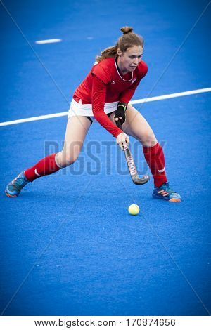 VALENCIA, SPAIN - FEBRUARY 11: Malgorzata Sztybrych during Hockey World League Round 2 semifinal match between Ukraine and Poland at Betero Stadium on February 11, 2017 in Valencia, Spain